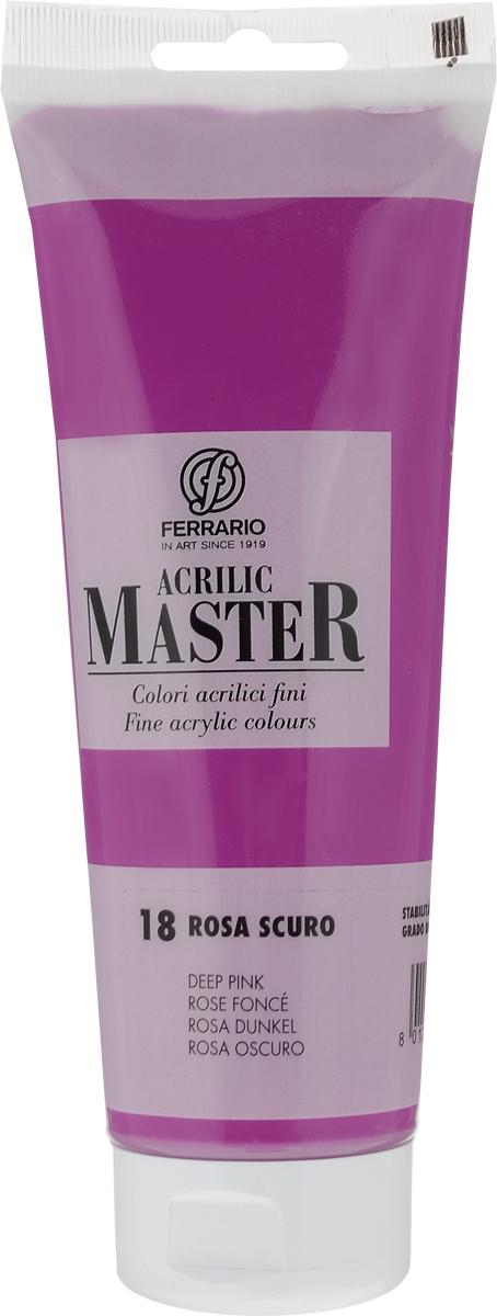 Ferrario Краска акриловая Acrilic Master цвет №18 розовый темный BM0978B0018BM0978B0018Акриловые краски серии ACRILIC MASTER итальянской компании Ferrario. Универсальны в применении, так как хорошо ложатся на любую обезжиренную поверхность: бумага, холст, картон, дерево, керамика, пластик. При изготовлении красок используются высококачественные пигменты мелкого помола. Краска быстро сохнет, обладает отличной укрывистостью и насыщенностью цвета. Работы, сделанные с помощью ACRILIC MASTER, не тускнеют и не выгорают на солнце. Все цвета отлично смешиваются между собой и при необходимости разбавляются водой. Для достижения необходимых эффектов применяют различные медиумы для акриловой живописи. В серии представлено 50 цветов.