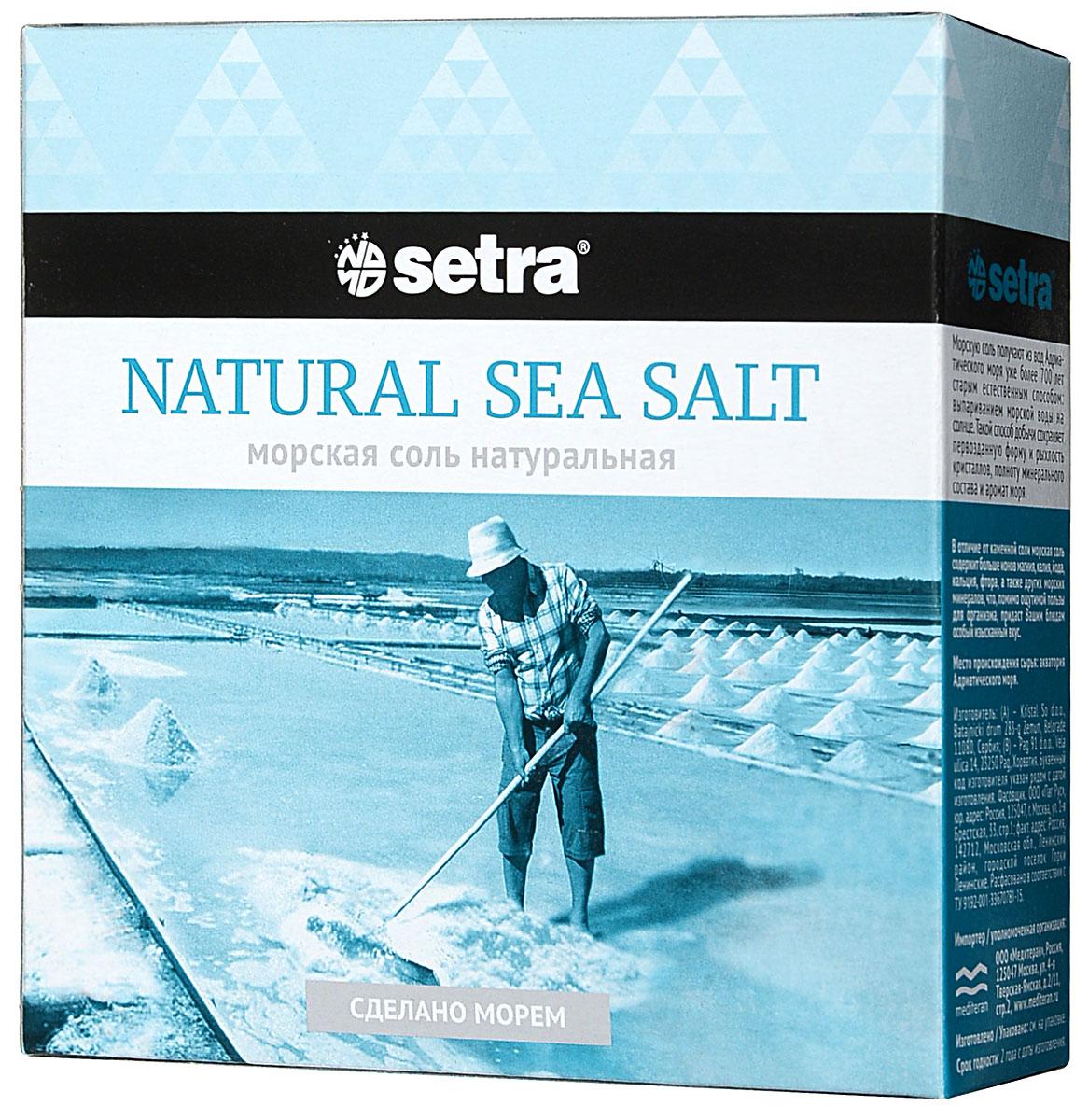 Соль Setra морская натуральная, 500 г4750Морскую соль Setra получают из вод Адриатического моря уже более 700 лет старым, естественным, экологически чистым способом: выпариванием морской воды на солнце. В отличие от каменной соли, морская соль содержит больше ионов магния, калия, йода, кальция, фтора, а также других морских минералов, что, помимо ощутимой пользы для организма, придаст вашим блюдам особый изысканный вкус.