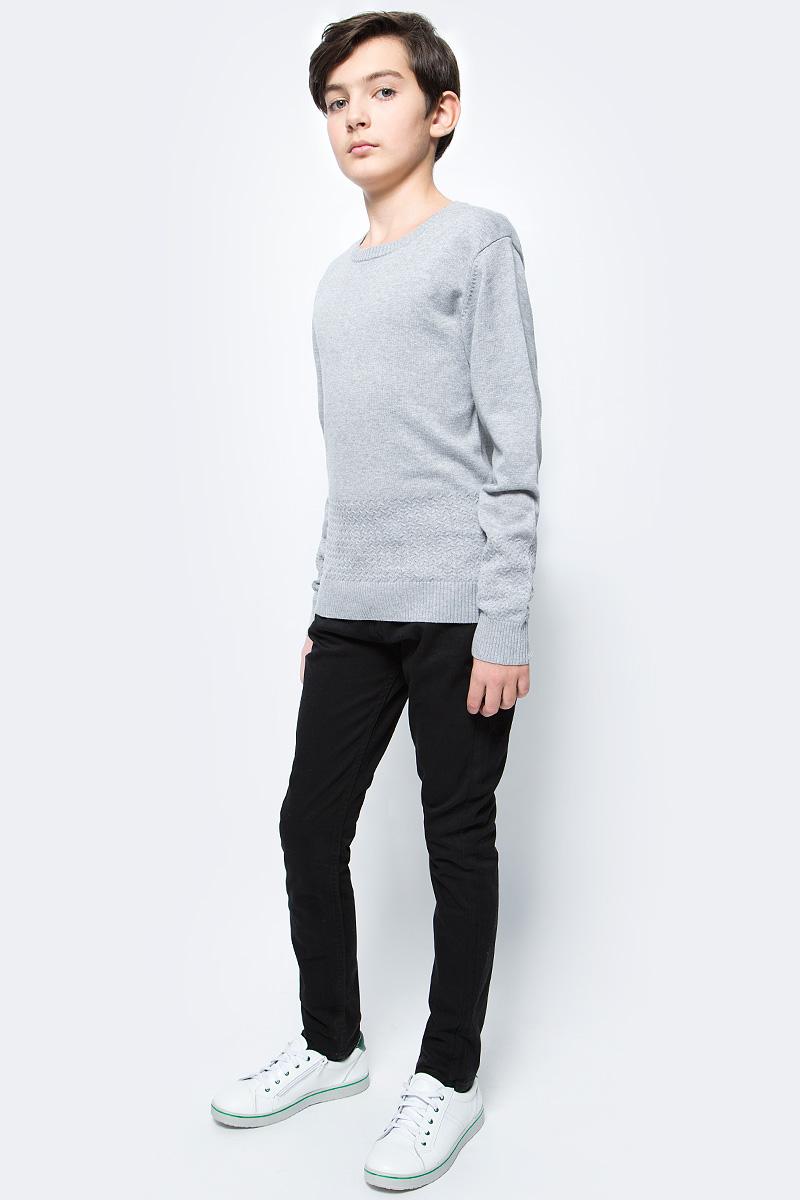 Джемпер для мальчика Vitacci, цвет: серый. 1173004-02. Размер 1461173004-02Джемпер школьный для мальчика выполнен из натурального хлопка. Модель с круглым вырезом горловины и длинными рукавами.
