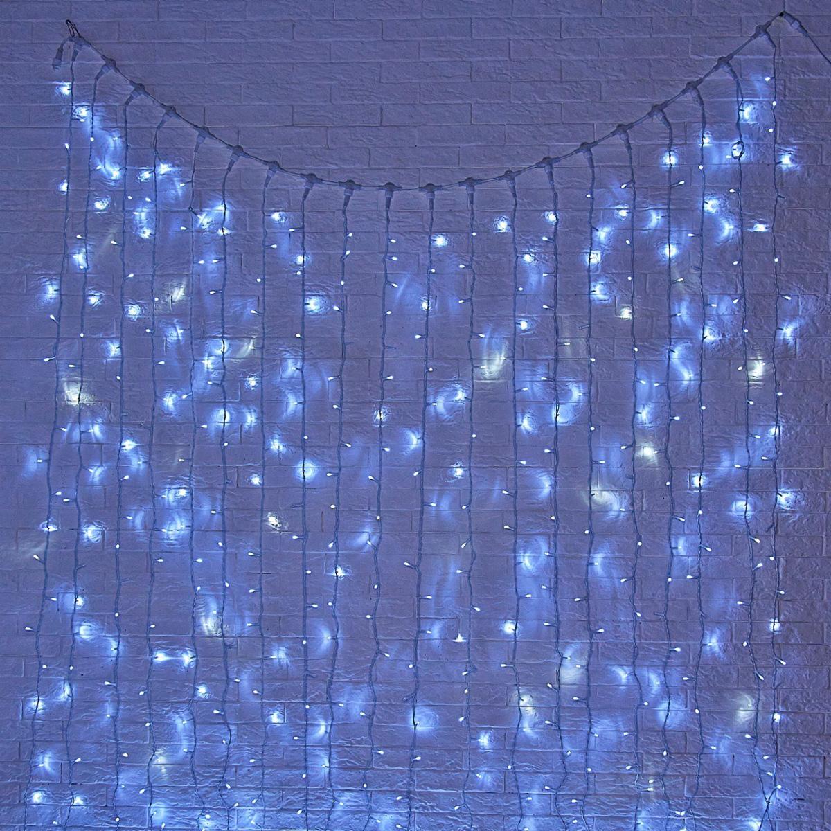Гирлянда светодиодная Luazon Занавес, цвет: белый, уличная, 1440 ламп, 280-220 V, 2 х 6 м. 10802721080272Светодиодные гирлянды и ленты — это отличный вариант для новогоднего оформления интерьера или фасада. С их помощью помещение любого размера можно превратить в праздничный зал, а внешние элементы зданий, украшенные ими, мгновенно станут напоминать очертания сказочного дворца. Такие украшения создают ауру предвкушения чуда. Деревья, фасады, витрины, окна и арки будто специально созданы, чтобы вы украсили их светящимися нитями.