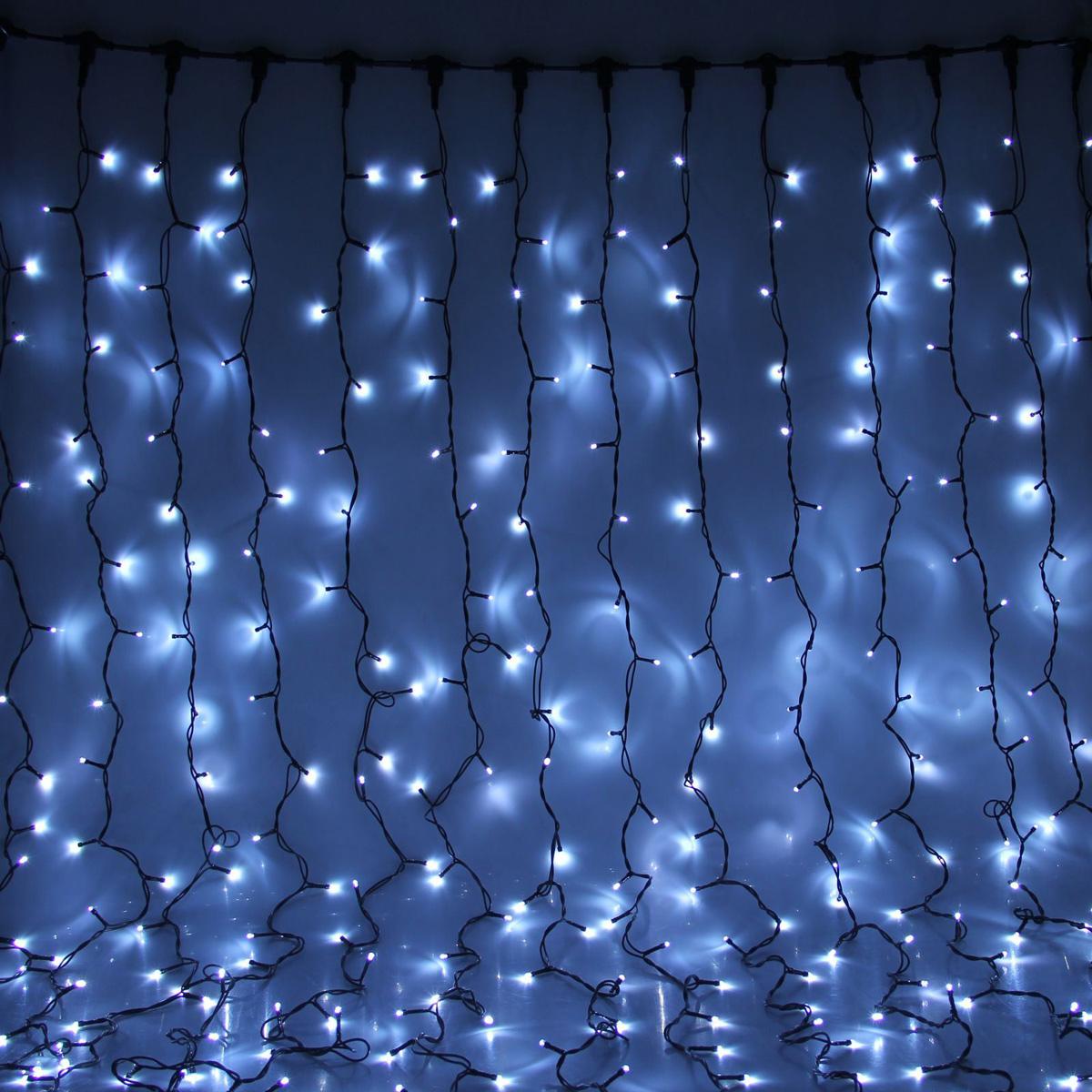 Гирлянда светодиодная Luazon Занавес, цвет: белый, уличная, 1800 ламп, 220 V, 2 х 9 м. 1080313 гирлянда luazon дождь 2m 6m multicolor 671678