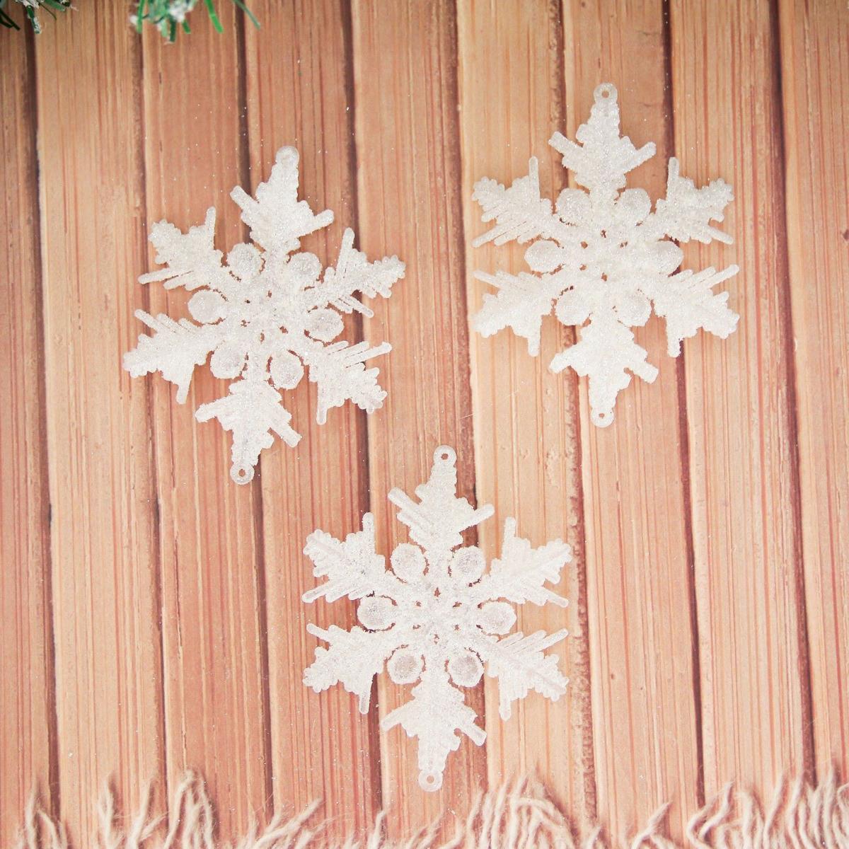 Набор новогодних подвесных украшений Снежинка, диаметр 8 см, 6 шт2155352Набор новогодних подвесных украшений отлично подойдет для декорации вашего дома и новогодней ели. С помощью специальной петельки украшение можно повесить в любом понравившемся вам месте. Но, конечно, удачнее всего оно будет смотреться на праздничной елке.Елочная игрушка - символ Нового года. Она несет в себе волшебство и красоту праздника. Такое украшение создаст в вашем доме атмосферу праздника, веселья и радости.