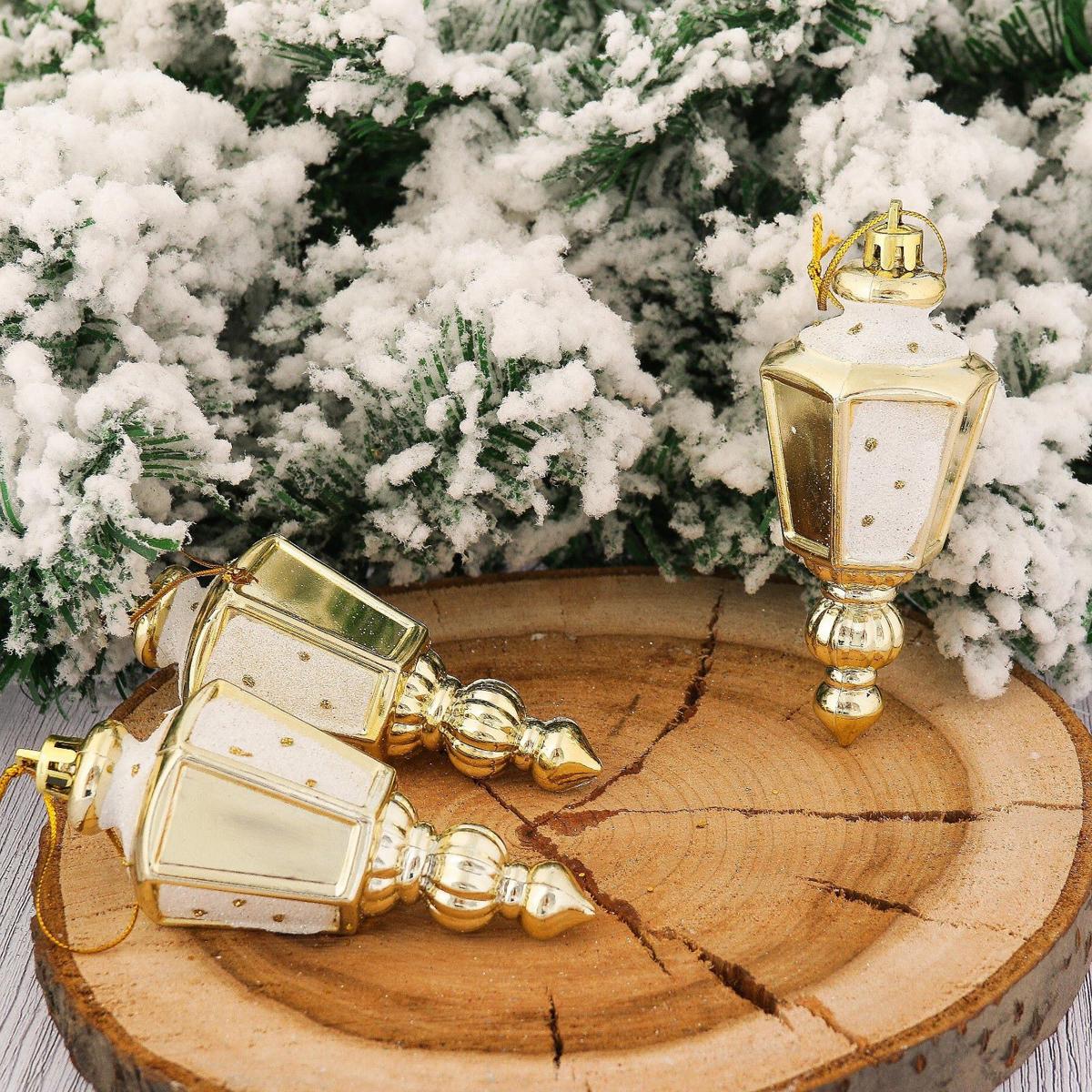 Набор новогодних подвесных украшений Фонарик, цвет: золотой, 9,5 х 4,5 см, 6 шт2123098Набор новогодних подвесных украшений отлично подойдет для декорации вашего дома и новогодней ели. С помощью специальной петельки украшение можно повесить в любом понравившемся вам месте. Но, конечно, удачнее всего оно будет смотреться на праздничной елке.Елочная игрушка - символ Нового года. Она несет в себе волшебство и красоту праздника. Такое украшение создаст в вашем доме атмосферу праздника, веселья и радости.