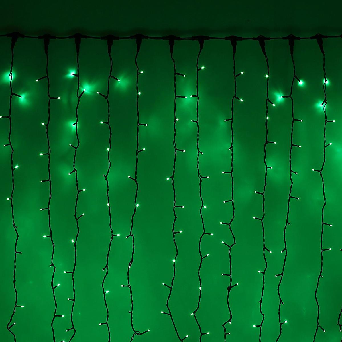 Гирлянда светодиодная Luazon Занавес, цвет: зеленый, уличная, 1440 ламп, 220 V, 2 х 6 м. 10802821080282Светодиодные гирлянды и ленты — это отличный вариант для новогоднего оформления интерьера или фасада. С их помощью помещение любого размера можно превратить в праздничный зал, а внешние элементы зданий, украшенные ими, мгновенно станут напоминать очертания сказочного дворца. Такие украшения создают ауру предвкушения чуда. Деревья, фасады, витрины, окна и арки будто специально созданы, чтобы вы украсили их светящимися нитями.