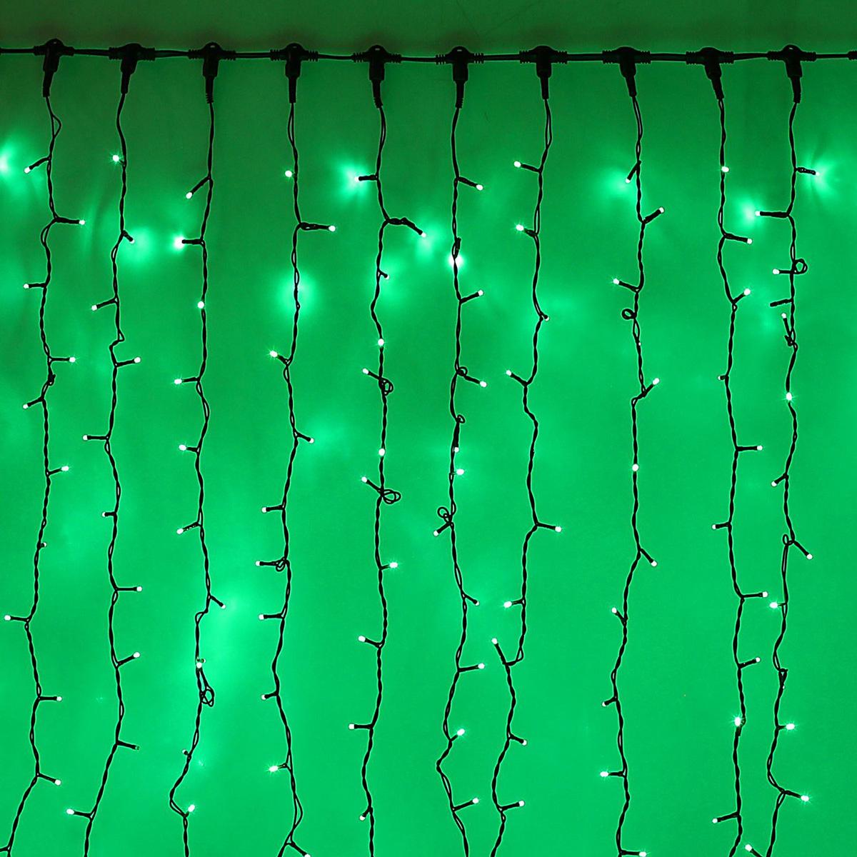 Гирлянда светодиодная Luazon Занавес, цвет: зеленый, уличная, 1440 ламп, 220 V, 2 х 6 м. 10802921080292Гирлянда светодиодная Luazon Занавес - это отличный вариант для новогоднего оформления интерьера или фасада. С ее помощью помещение любого размера можно превратить в праздничный зал, а внешние элементы зданий, украшенные гирляндой, мгновенно станут напоминать очертания сказочного дворца. Такое украшение создаст ауру предвкушения чуда. Деревья, фасады, витрины, окна и арки будто специально созданы, чтобы вы украсили их светящимися нитями.