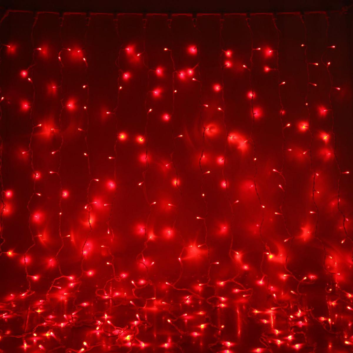 Гирлянда светодиодная Luazon Занавес, цвет: красный, уличная, 1440 ламп, 220 V, 2 х 6 м. 10802581080258Светодиодные гирлянды и ленты — это отличный вариант для новогоднего оформления интерьера или фасада. С их помощью помещение любого размера можно превратить в праздничный зал, а внешние элементы зданий, украшенные ими, мгновенно станут напоминать очертания сказочного дворца. Такие украшения создают ауру предвкушения чуда. Деревья, фасады, витрины, окна и арки будто специально созданы, чтобы вы украсили их светящимися нитями.