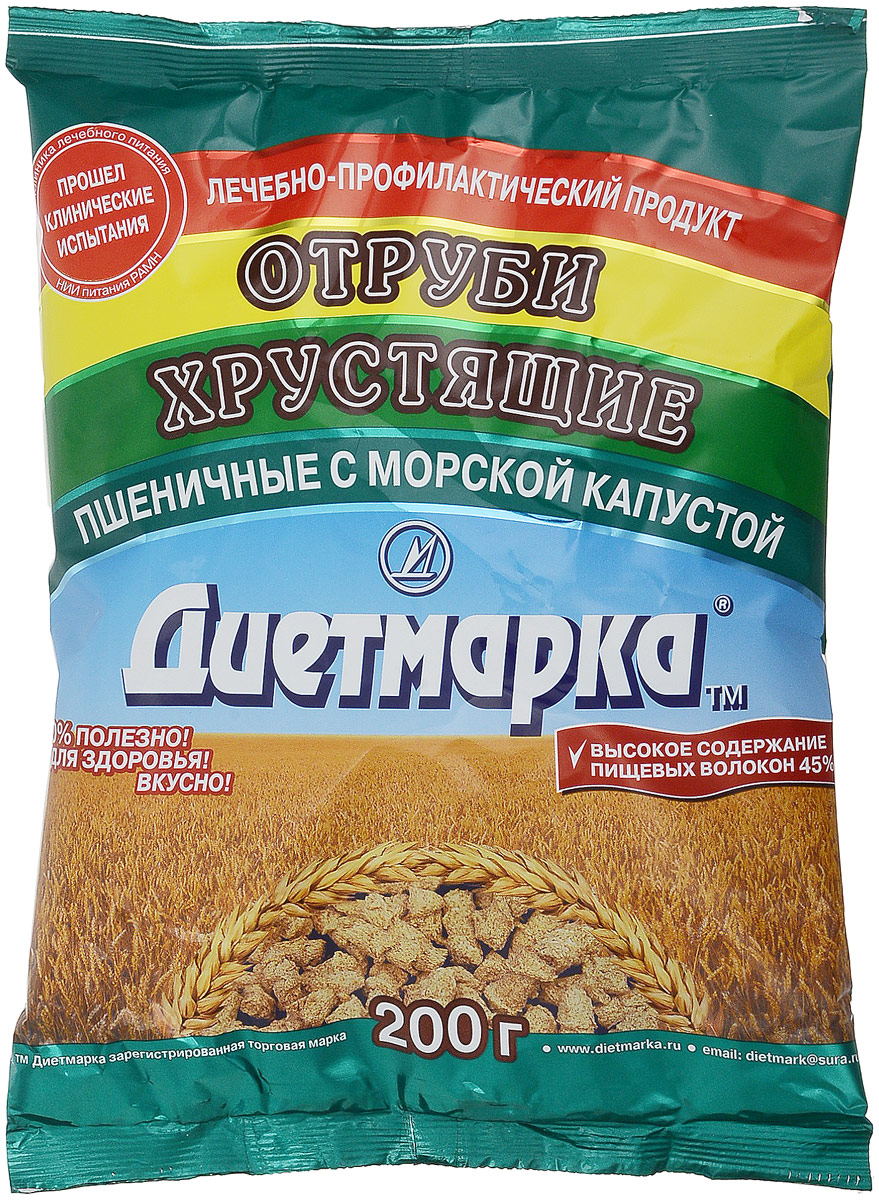 Диет Марка отруби хрустящие пшеничные с морской капустой, 200 г диадар отруби хрустящие ржаные бородинские 200 г
