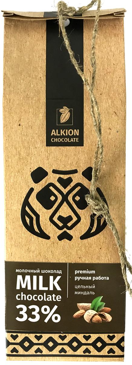 Alkion шоколад молочный с цельным миндалем, 100 г auchan шоколад темный с миндалем auchan 200г