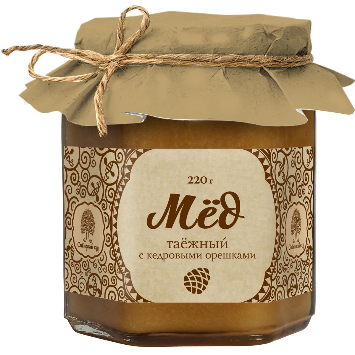 Сибирский кедр мед таежный с кедровыми орешками, 220 г1922Еще древние выяснили, что мед укрепляет здоровье и продлевает жизнь человека. Инновационные находки компании Сибирский Кедр позволили создать уникальный, стопроцентно натуральный продукт, сочетающий таежный мед и соки сибирских ягод. Такой коктейль усиливает полезные свойства каждого из компонентов, а регулярное его применение укрепит иммунитет.Целебные сорта мёда. Статья OZON Гид