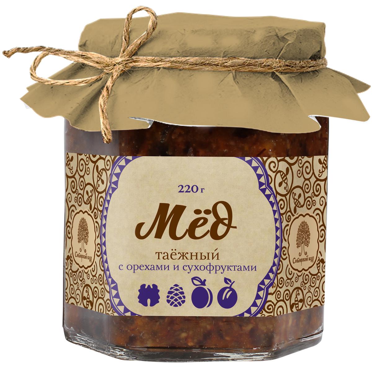 Сибирский кедр мед таежный с орехами и сухофруктами, 220 г1963Еще древние выяснили, что мед укрепляет здоровье и продлевает жизнь человека. Инновационные находки компании Сибирский Кедр позволили создать уникальный, стопроцентно натуральный продукт, сочетающий таежный мед и соки сибирских ягод. Такой коктейль усиливает полезные свойства каждого из компонентов, а регулярное его применение укрепит иммунитет.Целебные сорта мёда. Статья OZON Гид