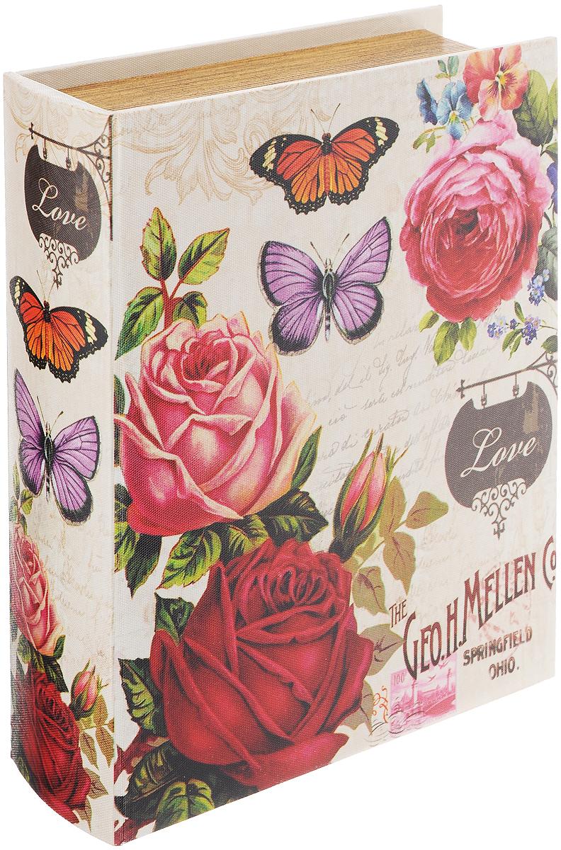 Шкатулка для рукоделия Бабочки в розах, 19 х 13 х 5 см. TL4555S771516703Шкатулка Бабочки в розах изготовлена из МДФ, картона и холщовой ткани и оснащена крышкой. Изделие декорировано изображением цветов и бабочек. Внутри шкатулка обтянута тканью коричневого цвета. Изящная шкатулка с ярким дизайном предназначена для хранения мелочей, принадлежностей для шитья и творчества и других аксессуаров. Она красиво оформит интерьер комнаты и поможет хранить ваши вещи в порядке.Размер: 19 х 13 х 5 см.