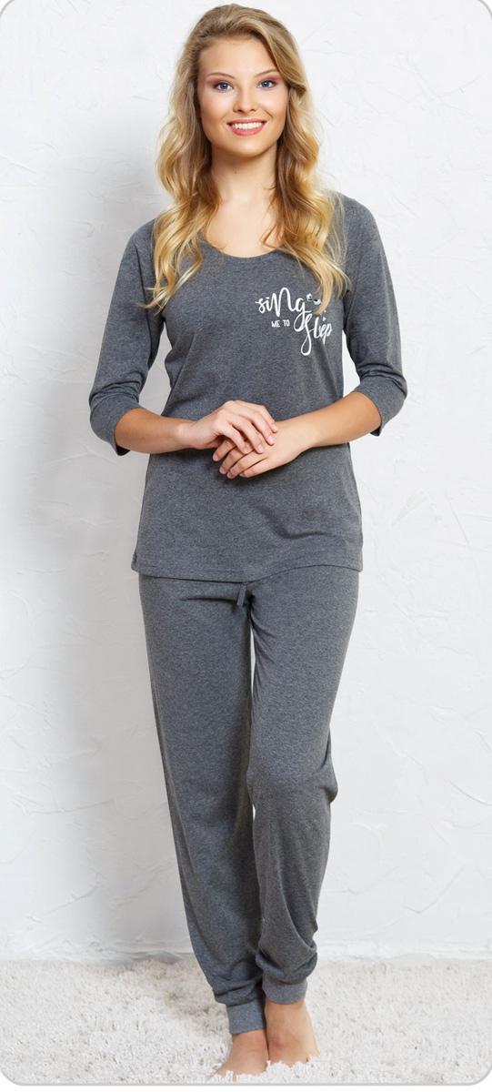 Домашний комплект женский Vienettas Secret Sing me to sleep: футболка, брюки, цвет: антрацит. 705173 0000. Размер S (44)705173 0000