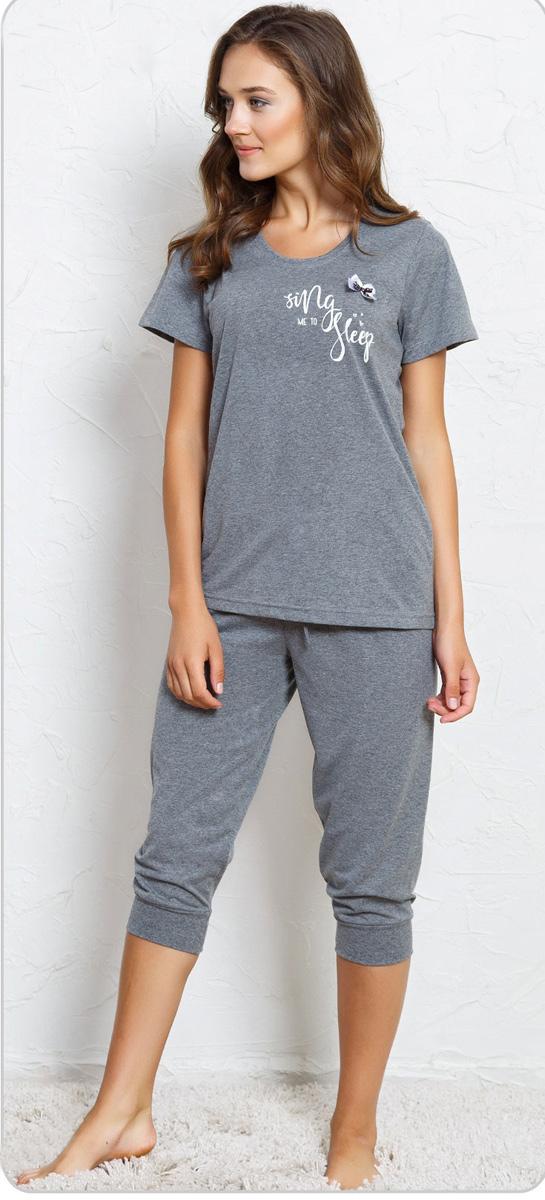 Домашний комплект женский Vienettas Secret Sing me to sleep: футболка, капри, цвет: антрацит. 705171 0000. Размер M (46)705171 0000