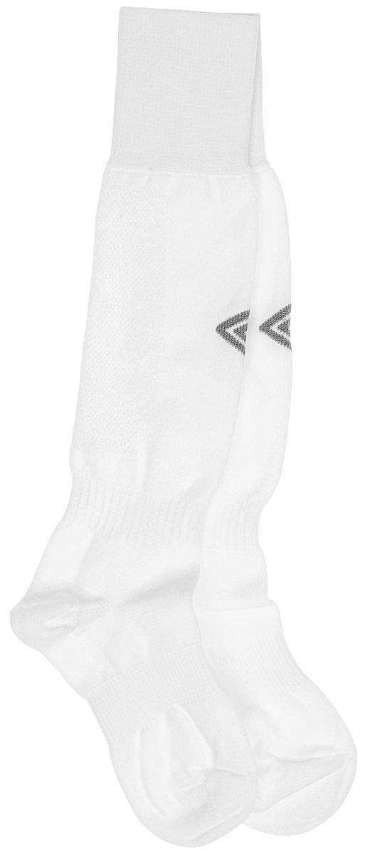 Гетры футбольные детские Umbro MenS Hose, цвет: белый, серый. 140217. Размер Junior (универсальный)140217Гетры футбольные детские. Особая вывязка на задней части гетр способствует выведению влаги. Эргономичная кострукция носка.