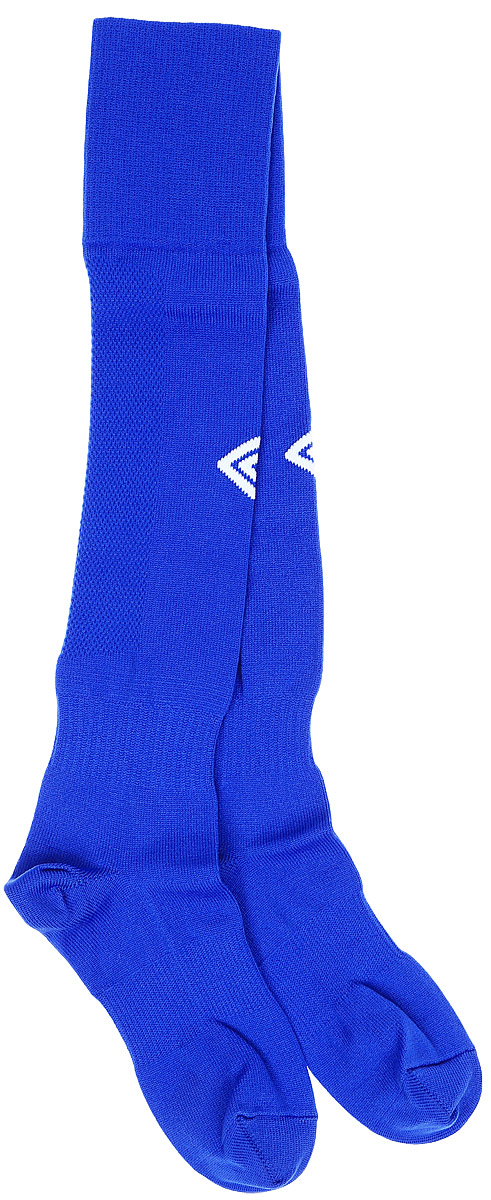 Гетры футбольные детские Umbro MenS Hose, цвет: синий, белый. 140217. Размер Junior (универсальный)140217Гетры футбольные детские. Особая вывязка на задней части гетр способствует выведению влаги. Эргономичная кострукция носка.