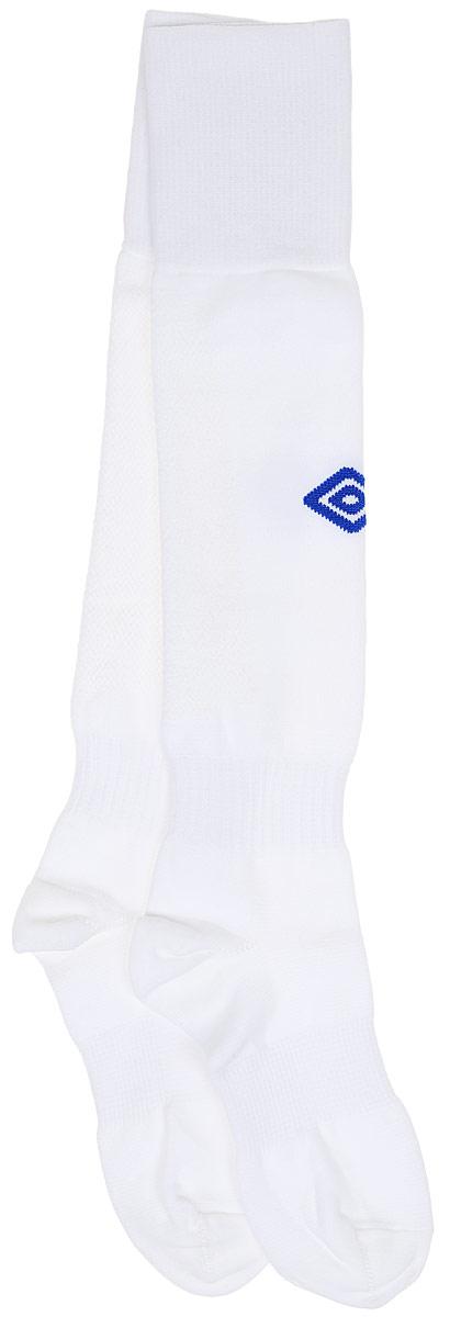 Гетры футбольные детские Umbro MenS Hose, цвет: белый, синий. 140217. Размер Junior (универсальный)140217Гетры футбольные детские. Особая вывязка на задней части гетр способствует выведению влаги. Эргономичная кострукция носка.