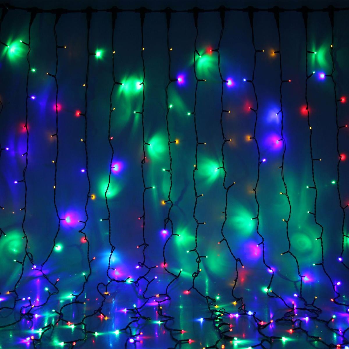 Гирлянда светодиодная Luazon Занавес, цвет: мультиколор, уличная, 1800 ламп, 220 V, 2 х 9 м. 10803091080244Светодиодные гирлянды и ленты — это отличный вариант для новогоднего оформления интерьера или фасада. С их помощью помещение любого размера можно превратить в праздничный зал, а внешние элементы зданий, украшенные ими, мгновенно станут напоминать очертания сказочного дворца. Такие украшения создают ауру предвкушения чуда. Деревья, фасады, витрины, окна и арки будто специально созданы, чтобы вы украсили их светящимися нитями.