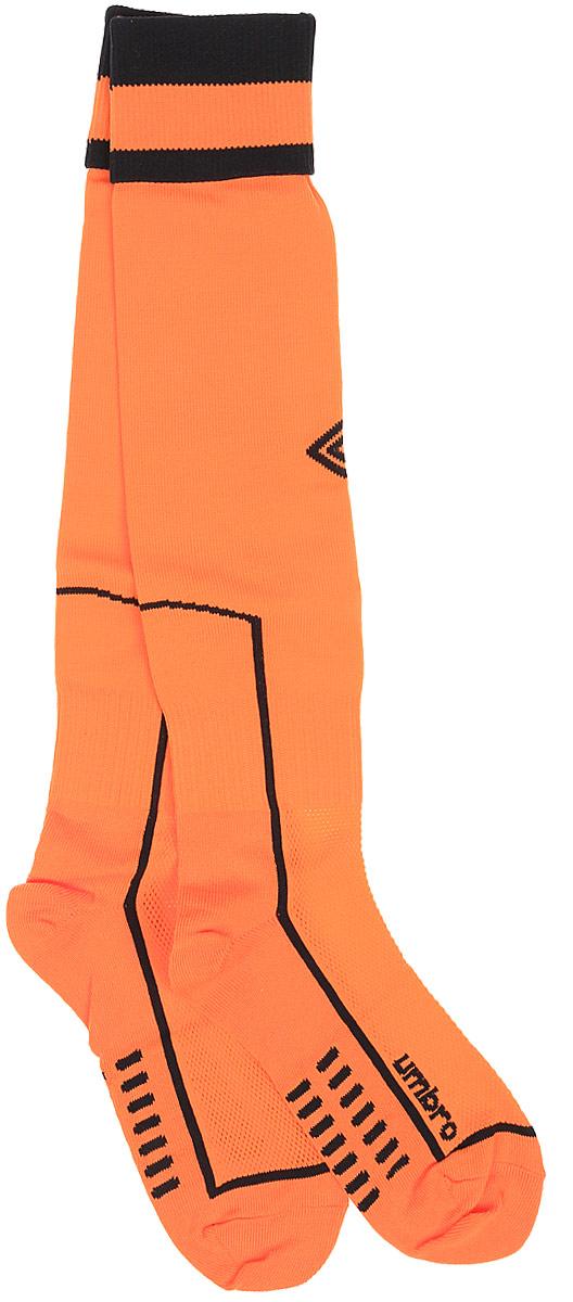 Гетры футбольные Umbro MenS Socks, цвет: оранжевый, черный. 140114. Размер Senior (универсальный)140114Гетры футбольные для взрослых. Особая вывязка на задней части гетр способствует выведению влаги. Эргономичная кострукция носка.