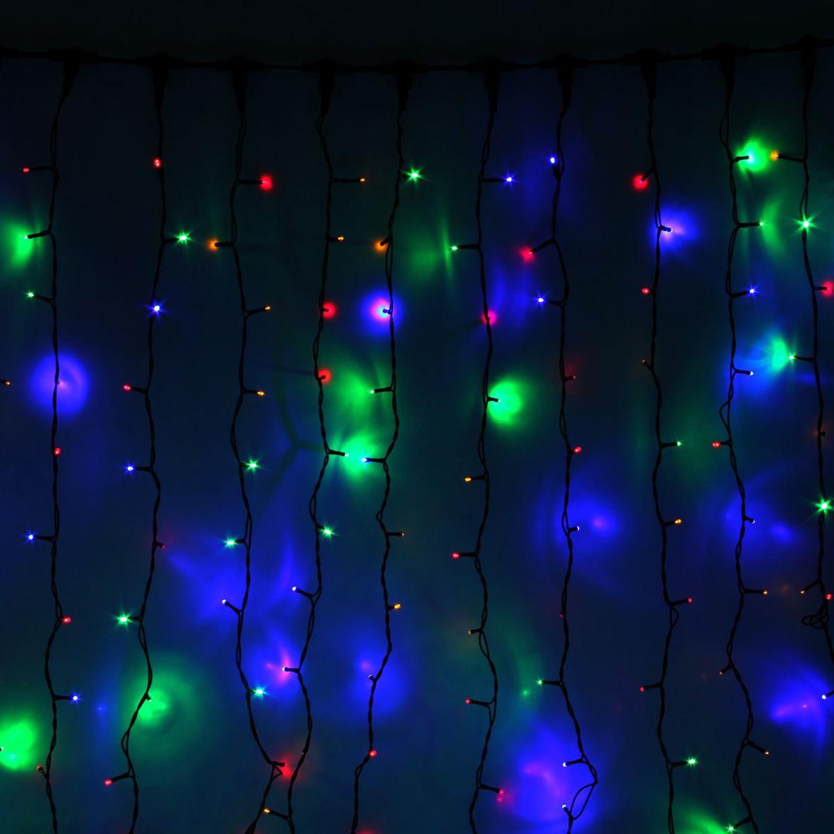 Гирлянда светодиодная Luazon Занавес, цвет: мультиколор, уличная, 1800 ламп, 220 V, 2 х 9 м. 1080312 гирлянда luazon дождь 2m 6m multicolor 671678