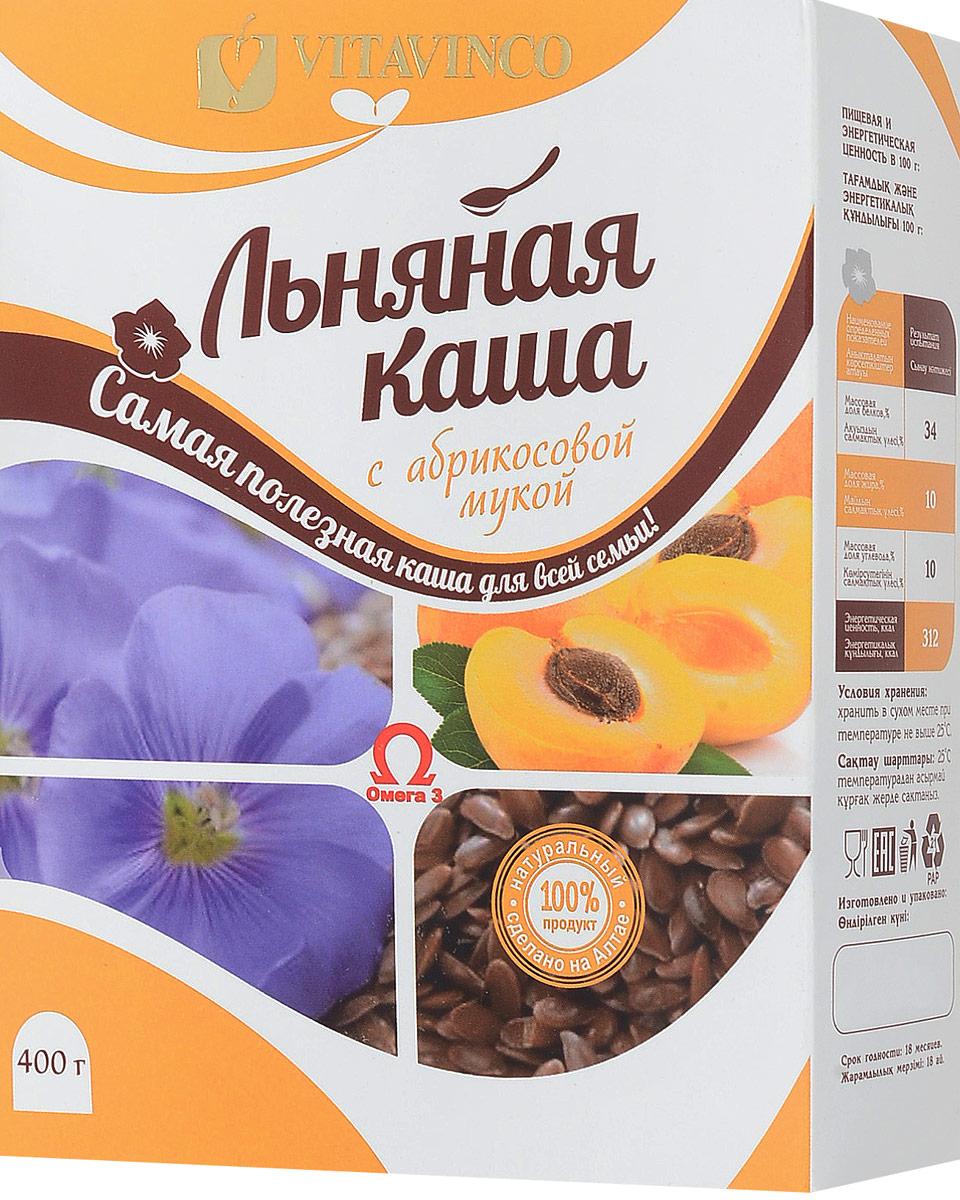 Витавинко каша льняная с абрикосовой мукой, 400 г4218Льняная каша с абрикосовой мукой является природным источником регенерации организма. Она содержит незаменимые жирные кислоты Омега-3 и Омега-6, наиболее ценные для организма микроэлементы, диетическую клетчатку, растительный белок, витамины В1, В2, В6, большое количество витамина В17, калий, кальций, магний, цинк и др. Это неоценимо полезная каша предотвращает заболевания пищеварительной системы. Способствует уничтожению патогенных и ослабленных клеток в организме.Лайфхаки по варке круп и пасты. Статья OZON Гид