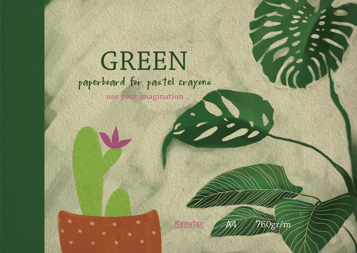 Kroyter Альбом для рисования пастелью цвет зеленый 10 листов159642Альбом для рисования пастелью Kroyter формата А4 состоит из 10 листов. Внутренний блок - тонированный картон оливкового цвета плотностью 760 г/м2. Обложка мелованный картон.Цветная печать.Тип скрепления - склейка.