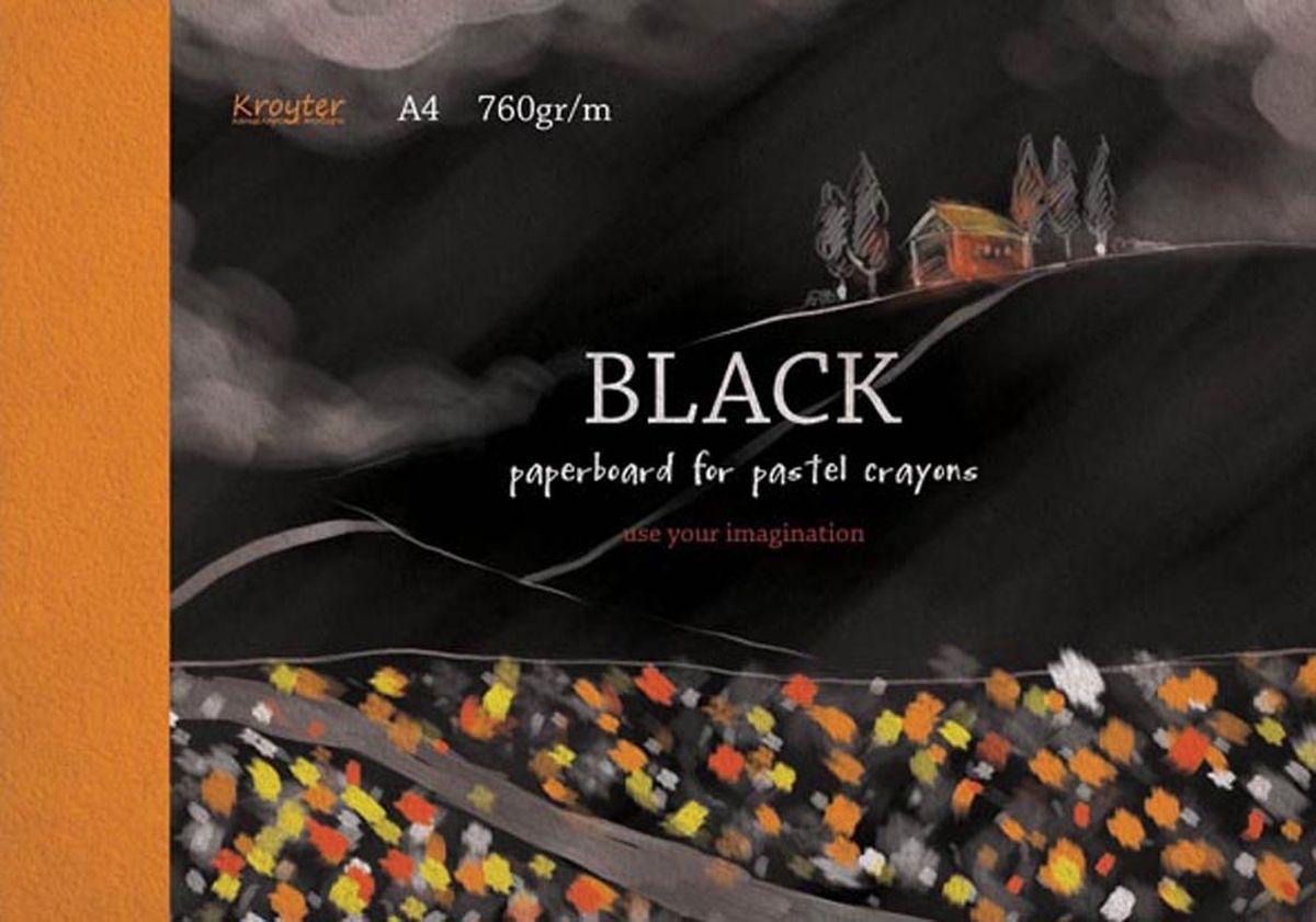 Kroyter Альбом для рисования пастелью цвет черный 10 листов159648Альбом для рисования пастелью Kroyter формата А4 состоит из 10 листов. Внутренний блок - тонированный картон черного цвета плотностью 760 г/м2. Обложка мелованный картон.Цветная печать.Тип скрепления - склейка.