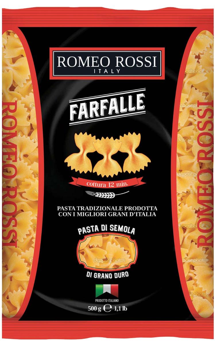 Romeo Rossi паста сицилийская из муки твердых сортов фарфалле, 500 г макаронные изделия bioitalia перья крупные 500г