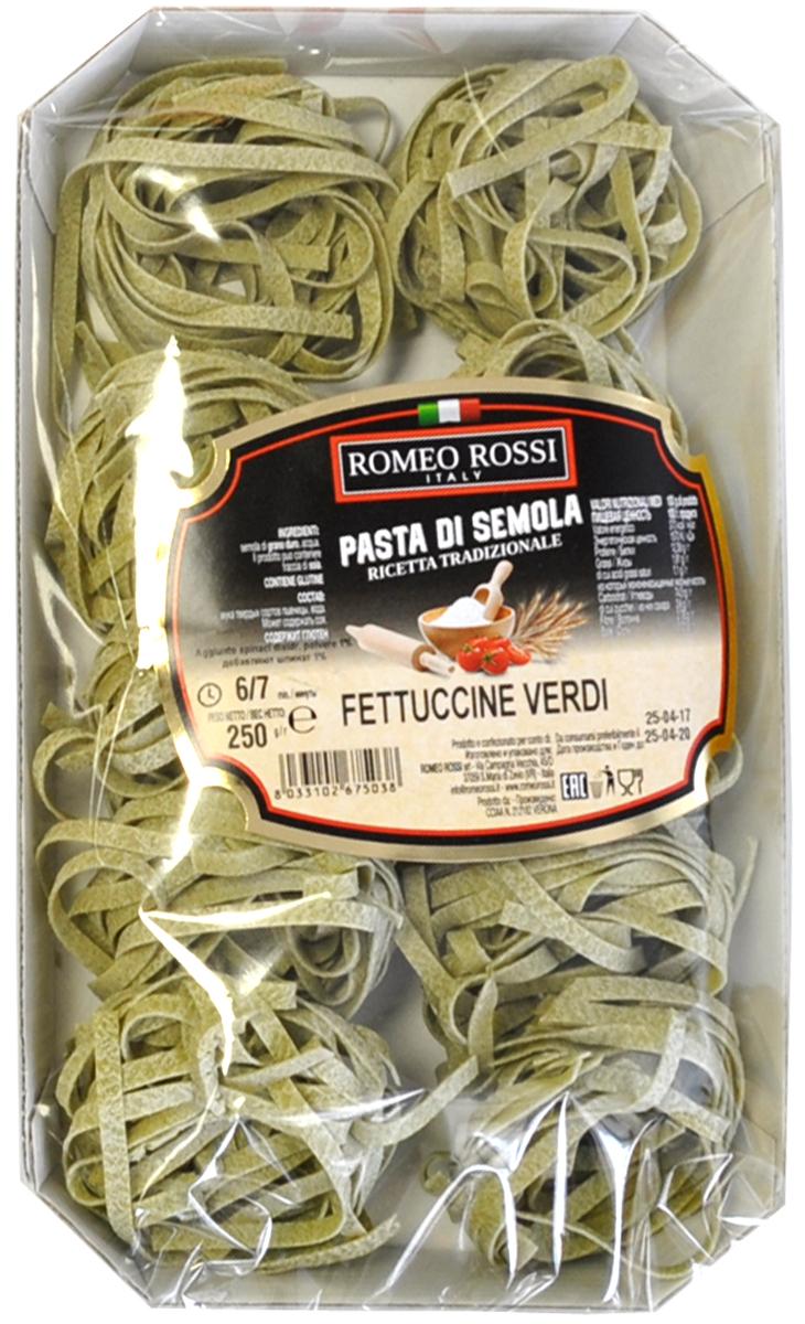 Romeo Rossi паста из муки твердых сортов феттучине со шпинатом, 250 г макаронные изделия molisana с добавлением томатов и шпината 500г