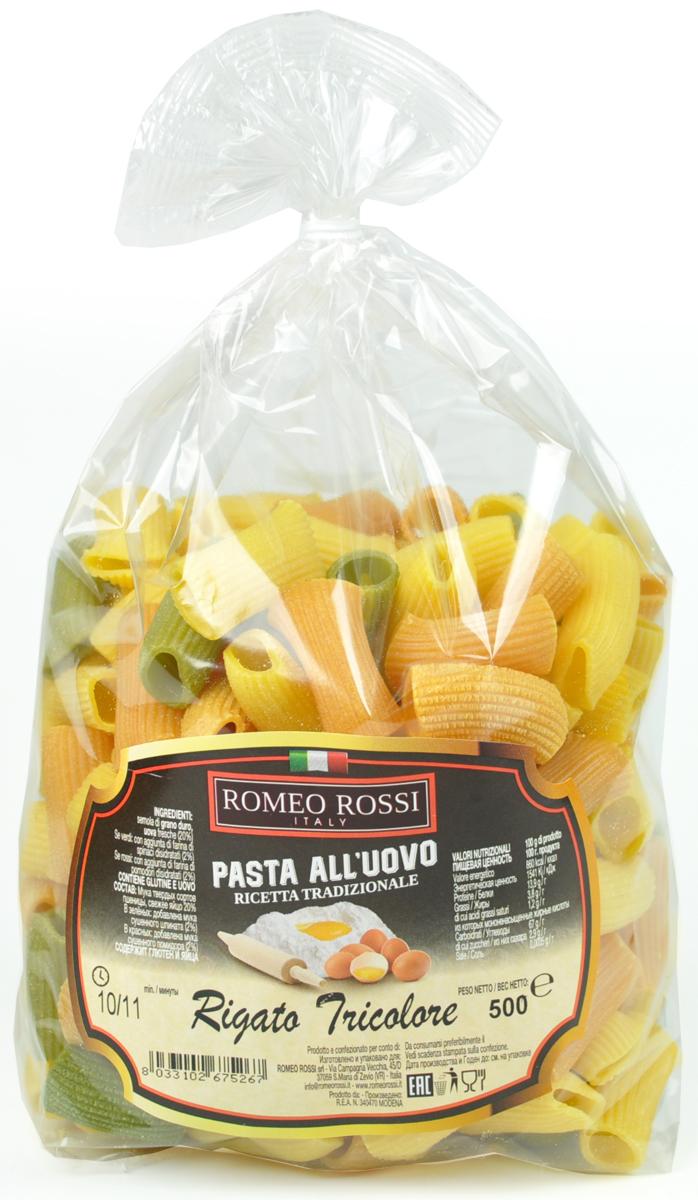 Romeo Rossi паста яичная 4 яйца ригатони трехцветная, 500 г romeo rossi паста сицилийская из муки твердых сортов пенне 500 г