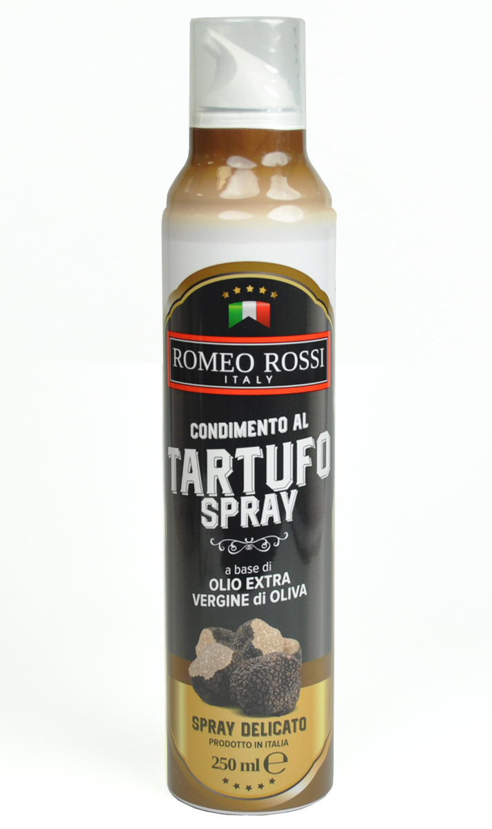 Romeo Rossi масло оливковое Extra Vergine спрей ароматизированное чёрный трюфель, 250 млБ0002505Оливковые масла Италии традиционно славятся на весь мир. Говорят, именно в оливковых маслах кроется секрет долголетия жителей Средиземноморья. Масло с добавками, как правило, употребляют для придания дополнительного аромата горячим и холодным блюдам.