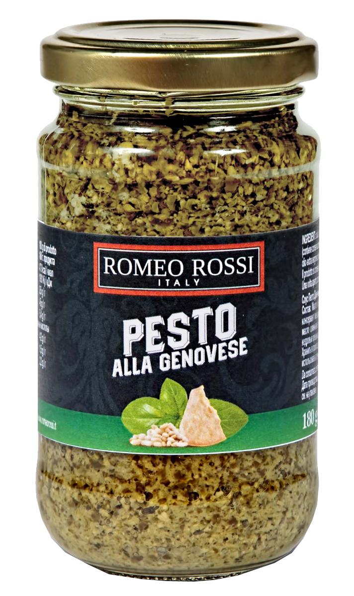 Romeo Rossi крем-паста песто дженовезе с чесноком, 180 гБ0002507Песто - популярный соус итальянской кухни на основе оливкового масла, базилика и орехов. Родиной классического песто считается Генуя - главный город провинции Генуя региона Лигурия. В некоторых регионах добавляют вяленые на солнце томаты, петрушку, оливковое масло заменяют растительным.