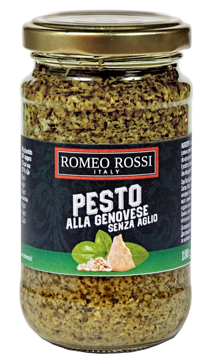 Romeo Rossi крем-паста песто дженовезе без чеснока, 180 гБ0002508Песто (итал. Pesto, от pestato, pestare - растирать, давить) - популярный соус итальянской кухни на основе оливкового масла, базилика и орехов. Родиной классического песто считается Генуя - главный город провинции Генуя региона Лигурия. В некоторых регионах добавляют вяленые на солнце томаты, петрушку, оливковое масло заменяют растительным