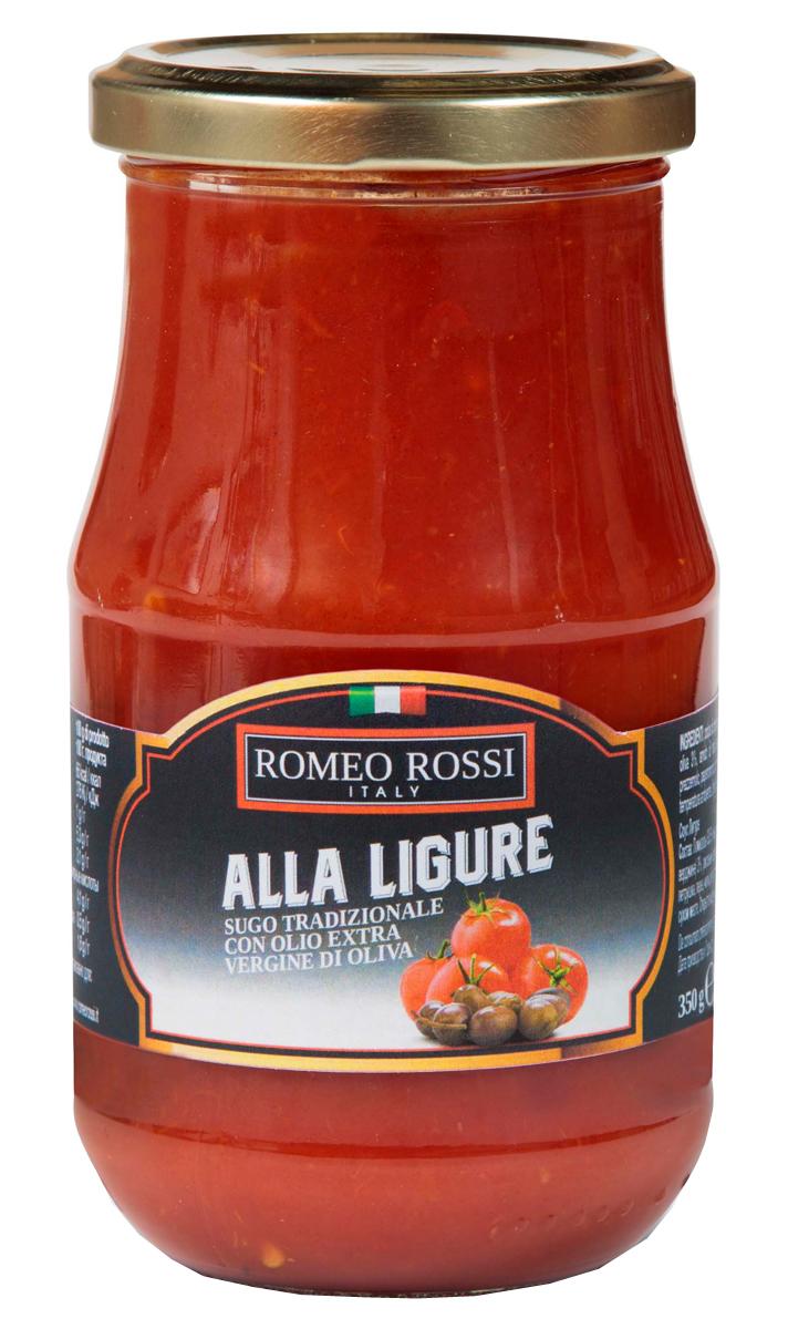 Romeo Rossi соус томатный для пасты Лигуре, 350 гБ0002596Томатные соусы являются неотъемлемым ингредиентом итальянской кухни. Итальянцы готовят с ними супы, подают к пасте, к мясу, равиолям, рису, овощам и запеканкам. Традиционно томатные соусы готовят из помидоров, имеющих сливовидную форму, мясистую мякоть, легко снимающуюся кожицу и пикантный сладковатый вкус.
