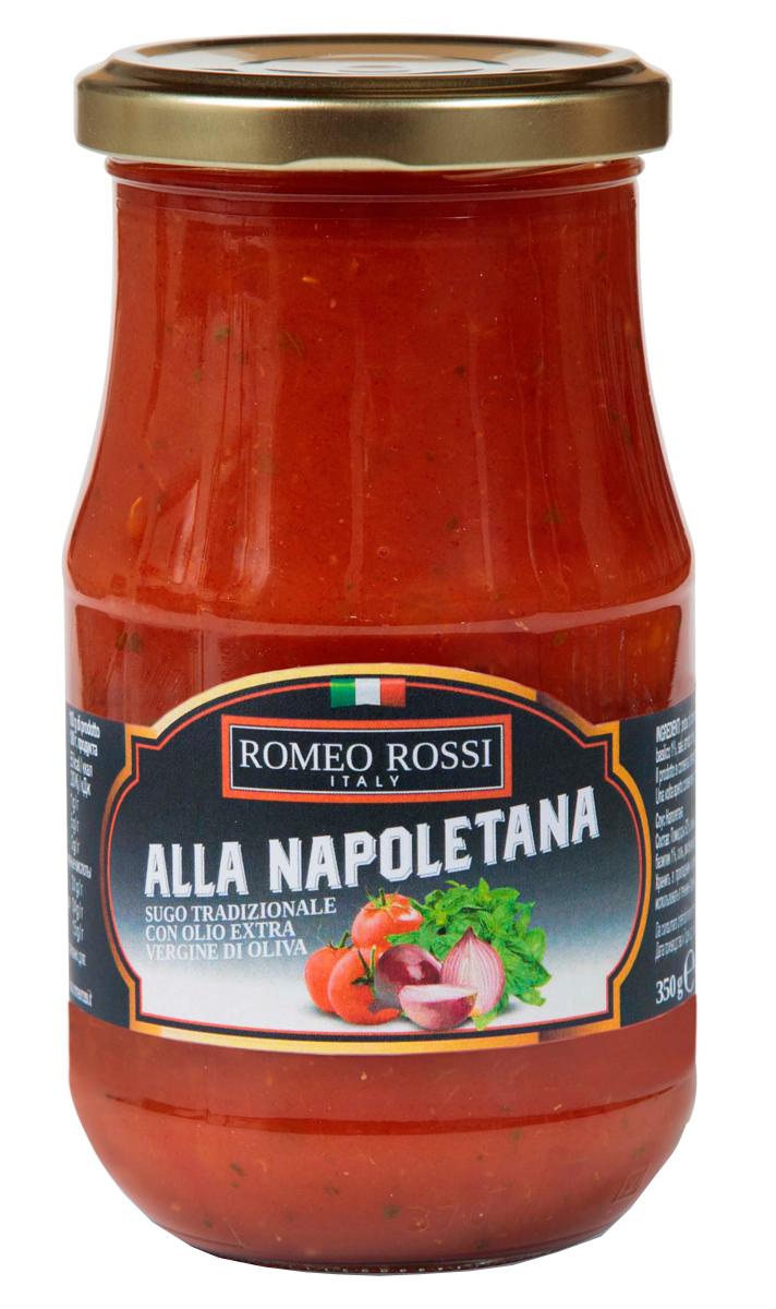 Romeo Rossi соус томатный для пасты Наполетана, 350 гБ0002598Томатные соусы являются неотъемлемым ингредиентом итальянской кухни. Итальянцы готовят с ними супы, подают к пасте, к мясу, равиолям, рису, овощам и запеканкам. Традиционно томатные соусы готовят из помидоров, имеющих сливовидную форму, мясистую мякоть, легко снимающуюся кожицу и пикантный сладковатый вкус.