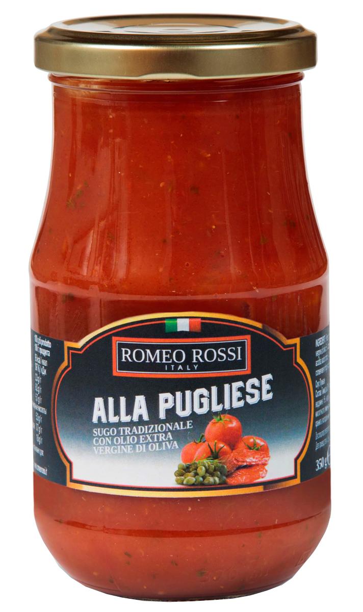Romeo Rossi соус томатный для пасты Пульезе, 350 гБ0002600Томатные соусы являются неотъемлемым ингредиентом итальянской кухни. Итальянцы готовят с ними супы, подают к пасте, к мясу, равиолям, рису, овощам и запеканкам. Традиционно томатные соусы готовят из помидоров, имеющих сливовидную форму, мясистую мякоть, легко снимающуюся кожицу и пикантный сладковатый вкус.