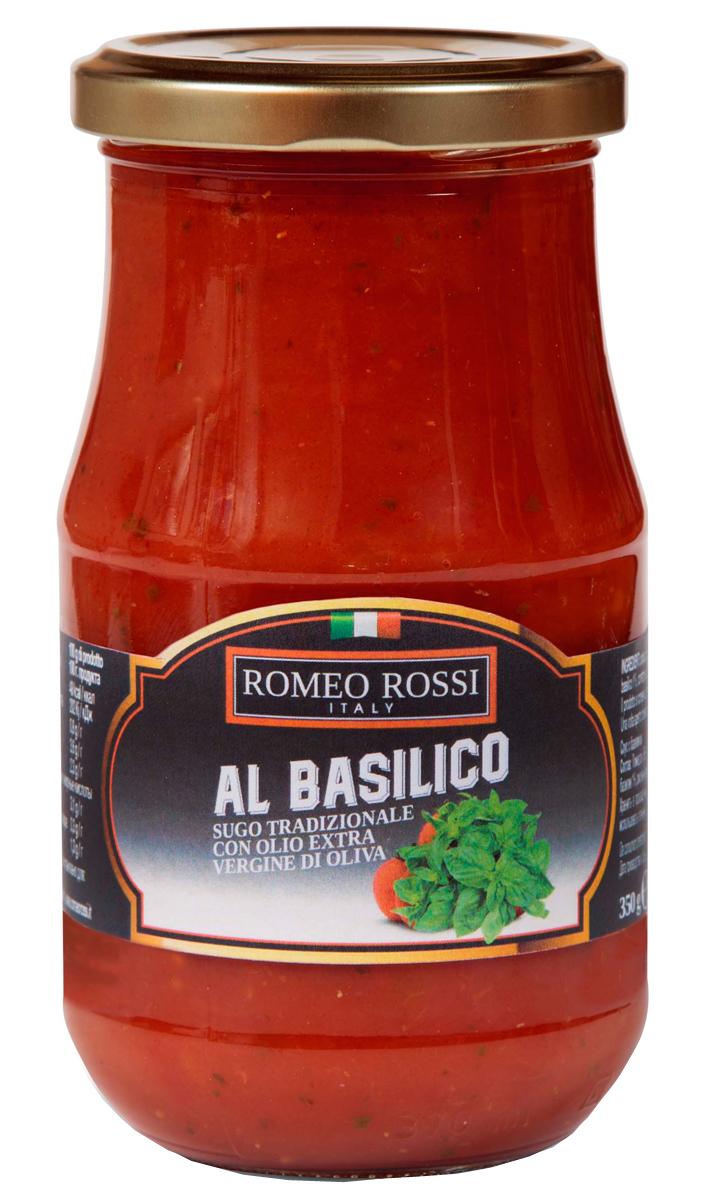 Romeo Rossi соус томатный для пасты с базиликом, 350 гБ0002601Томатные соусы являются неотъемлемым ингредиентом итальянской кухни. Итальянцы готовят с ними супы, подают к пасте, к мясу, равиолям, рису, овощам и запеканкам. Традиционно томатные соусы готовят из помидоров, имеющих сливовидную форму, мясистую мякоть, легко снимающуюся кожицу и пикантный сладковатый вкус.