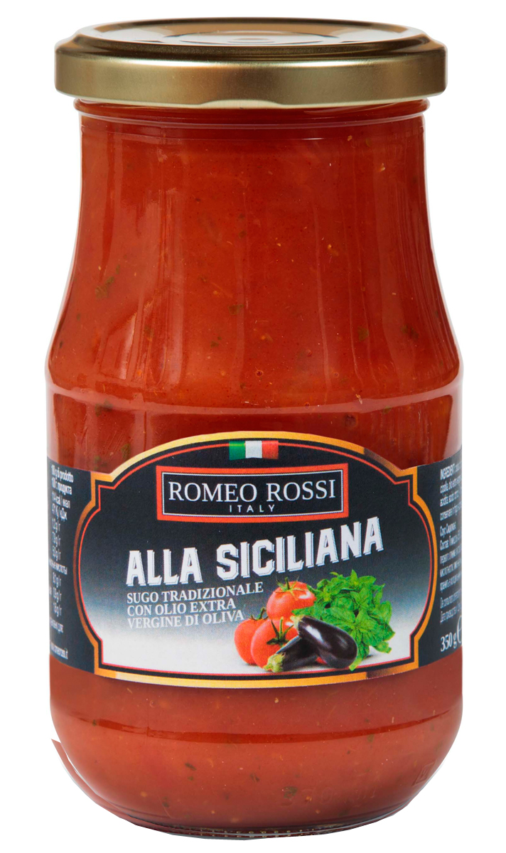 Romeo Rossi соус томатный для пасты Сицилийский, 350 гБ0002603Томатные соусы являются неотъемлемым ингредиентом итальянской кухни. Итальянцы готовят с ними супы, подают к пасте, к мясу, равиолям, рису, овощам и запеканкам. Традиционно томатные соусы готовят из помидоров, имеющих сливовидную форму, мясистую мякоть, легко снимающуюся кожицу и пикантный сладковатый вкус.