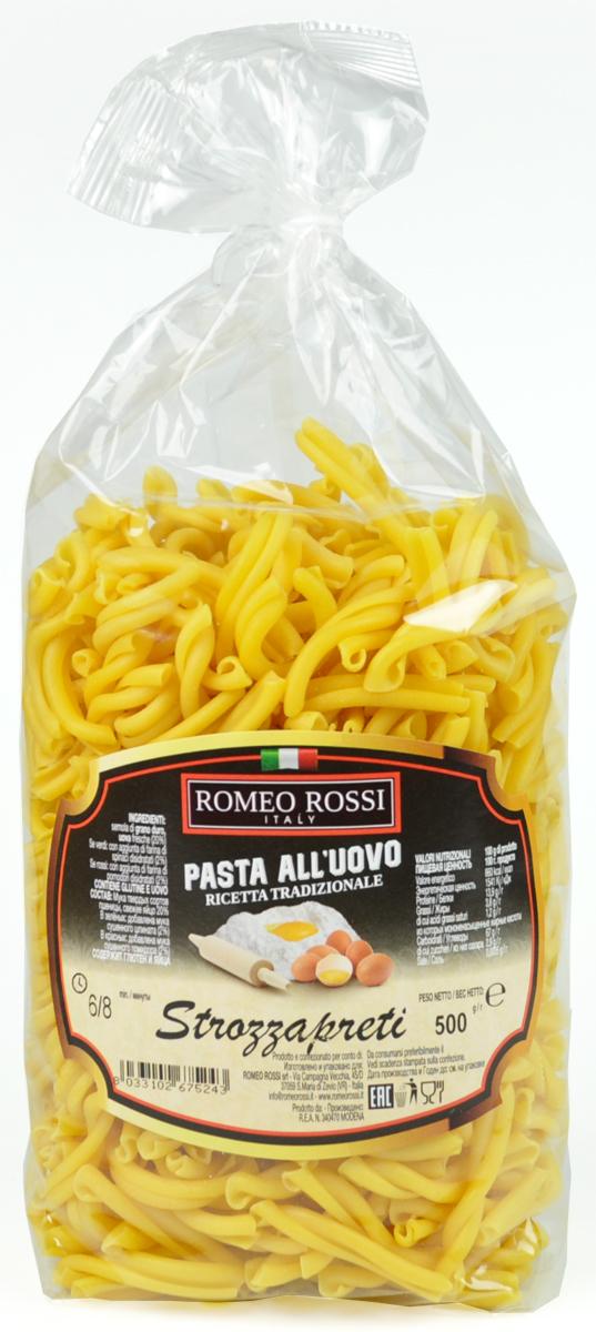 Romeo Rossi паста яичная 4 яйца строцапрети, 500 г romeo rossi паста сицилийская из муки твердых сортов фузилли 500 г