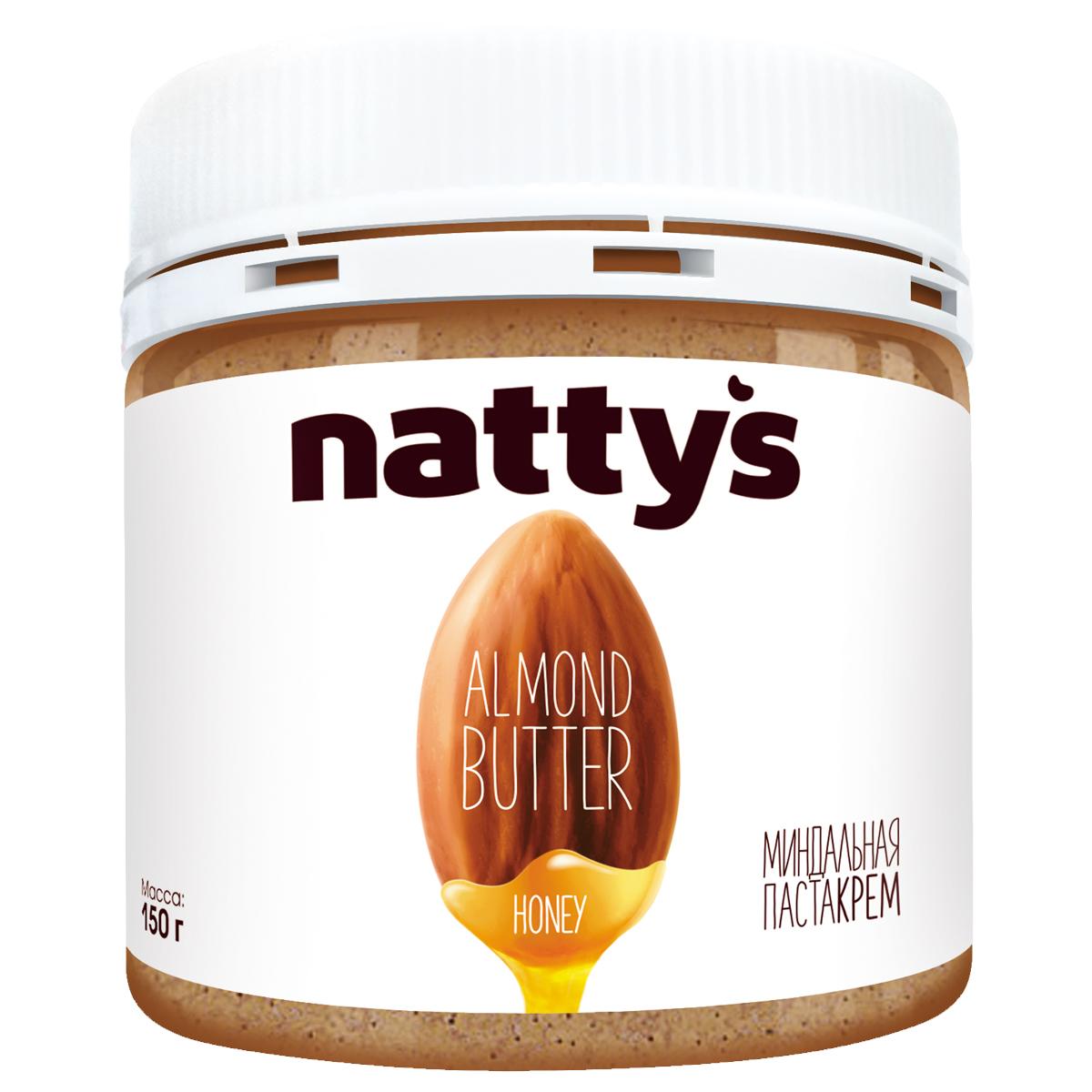 Nattys паста-крем миндальная, 150 гБ0002792Вкус и пользу Nattys вобрал из своих натуральных компонентов: фундук богат мононенасыщенными жирными кислотами, которые помогают снижать уровень холестерина и сжигают жировые клетки; арахис содержит много белка (усваивается до 98%) и клетчатки, что способствует длительному ощущению сытости и является основой здорового питания. Хрустящий хлеб с шоколадной пастой Nattys - традиционный любимый завтрак с детства, который поднимет настроение и наполнит день улыбкой.