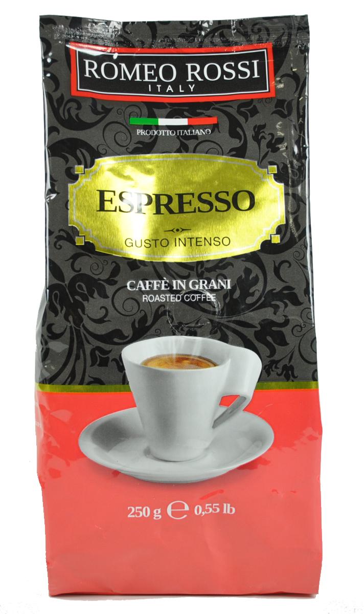 Romeo Rossi кофе в зернах эспрессо интенсо красный, 250 гБ0002803Как известно, в Италии не выращивают кофе. Тем не менее, итальянские кофейные традиции обжарки и приготовления этого божественного напитка - одни из лучших в мире. Вкус и аромат настоящего итальянского эспрессо не оставит Вас равнодушным!Кофе: мифы и факты. Статья OZON Гид