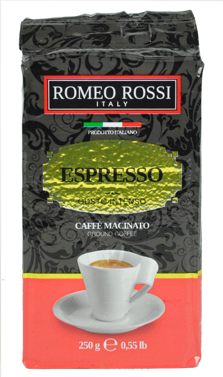 Romeo Rossi кофе молотый эспрессо интенсо красный, 250 гБ0002804Как известно, в Италии не выращивают кофе. Тем не менее, итальянские кофейные традиции обжарки и приготовления этого божественного напитка - одни из лучших в мире. Вкус и аромат настоящего итальянского эспрессо не оставит Вас равнодушным!Кофе: мифы и факты. Статья OZON Гид
