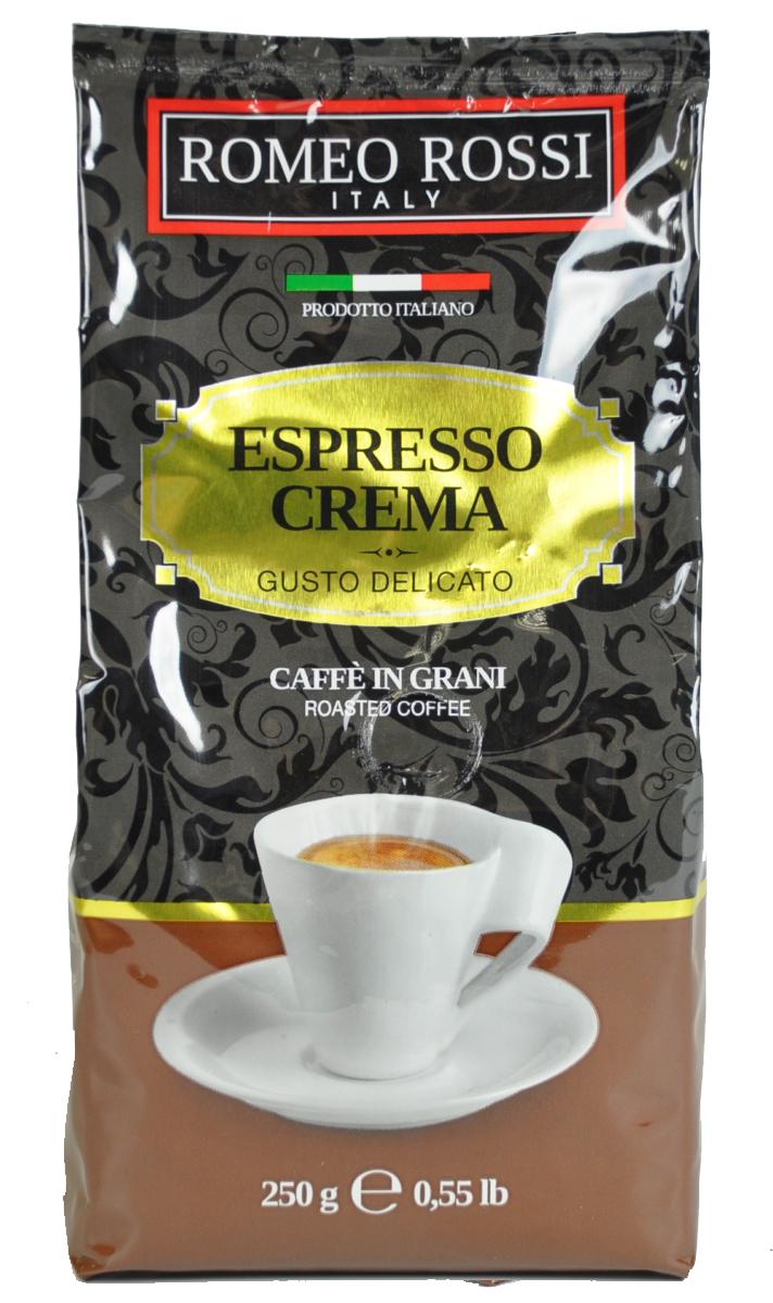 Romeo Rossi кофе в зернах эспрессо крема коричневый, 250 гБ0002806Как известно, в Италии не выращивают кофе. Тем не менее, итальянские кофейные традиции обжарки и приготовления этого божественного напитка - одни из лучших в мире. Вкус и аромат настоящего итальянского эспрессо не оставит Вас равнодушным!