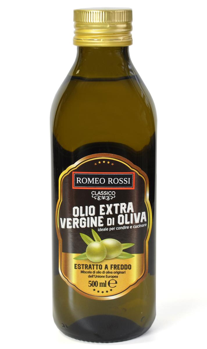 Romeo Rossi масло оливковое Extra Verdgine, 500 млБ0002811Оливковые масла Италии традиционно славятся на весь мир. Говорят, именно в оливковых маслах кроется секрет долголетия жителей Средиземноморья. Самым высококачественным считается Extra Vergine - нефильтрованное масло первого холодного отжима.