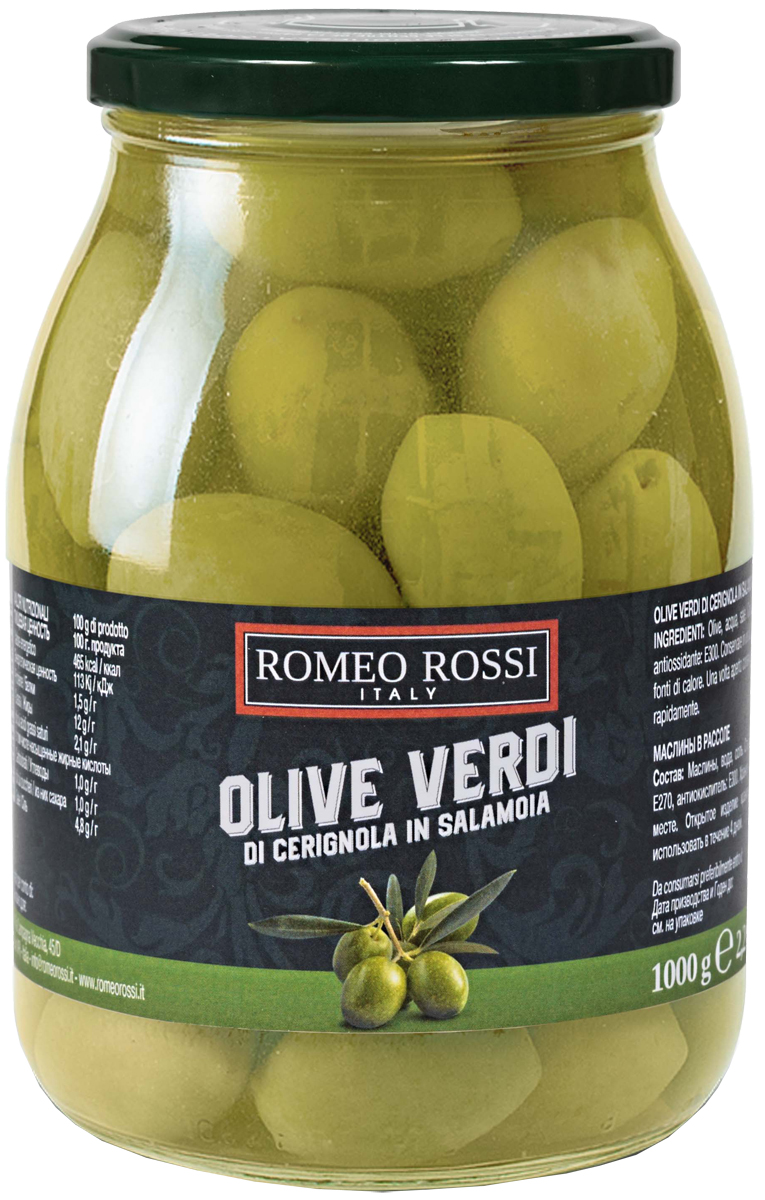 Romeo Rossi оливки зеленые чериньола, 1 кг romeo rossi паста яичная 4 яйца строцапрети 500 г