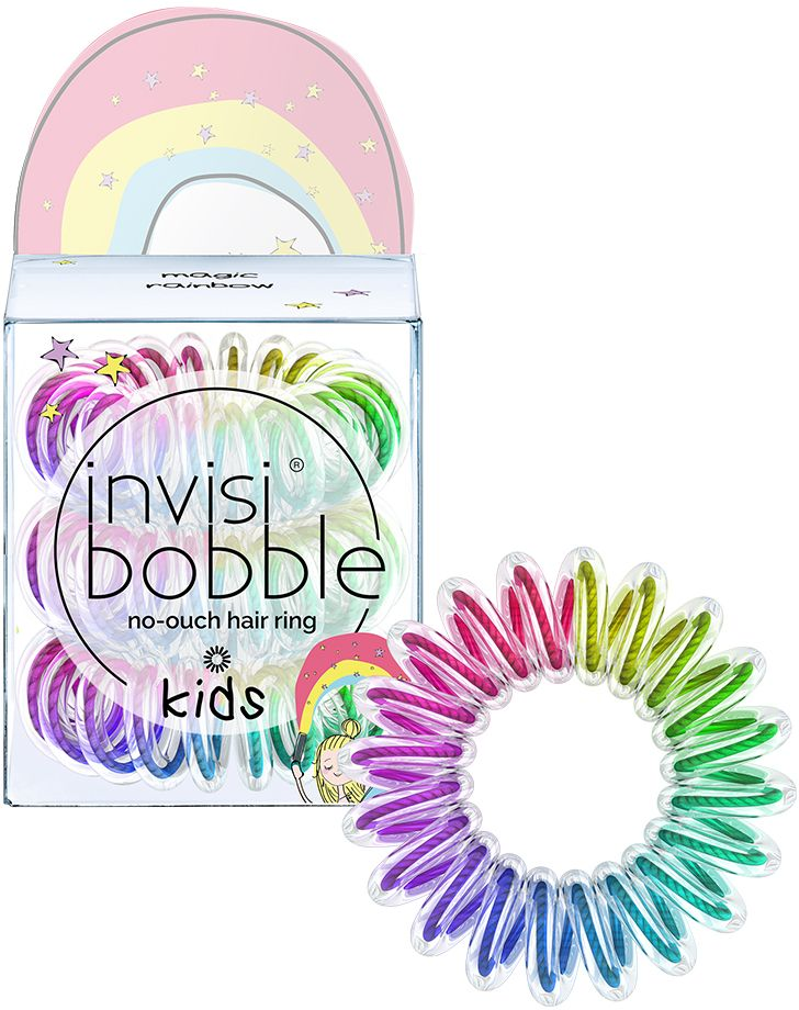 Invisibobble Резинка для волос Kids Magic Rainbow, 3 шт3093С invisibobble KIDS сбываются детские мечты: можно даже превратиться в очаровательную фею, добавив в образ немного волшебной пыли с резиночкой оттенка Magic Rainbow (разноцветный)! Уменьшенная в размере по сравнению с моделью ORIGINAL, спиралевидная форма резиночки KIDS надежно фиксирует причёску, не оставляет заломы и не вызывает головную боль благодаря неравномерному распределению давления на волосы, что делает invisibobble KIDS идеальным инструментом для создания причесок разной сложности для детей. Кроме того, резинки-браслеты invisibobble не намокают и не вызывают аллергию при контакте с кожей, поскольку изготовлены из искусственной смолы. С invisibobble KIDS пришло время прощаться со спутанными волосами и взъерошенными косами.