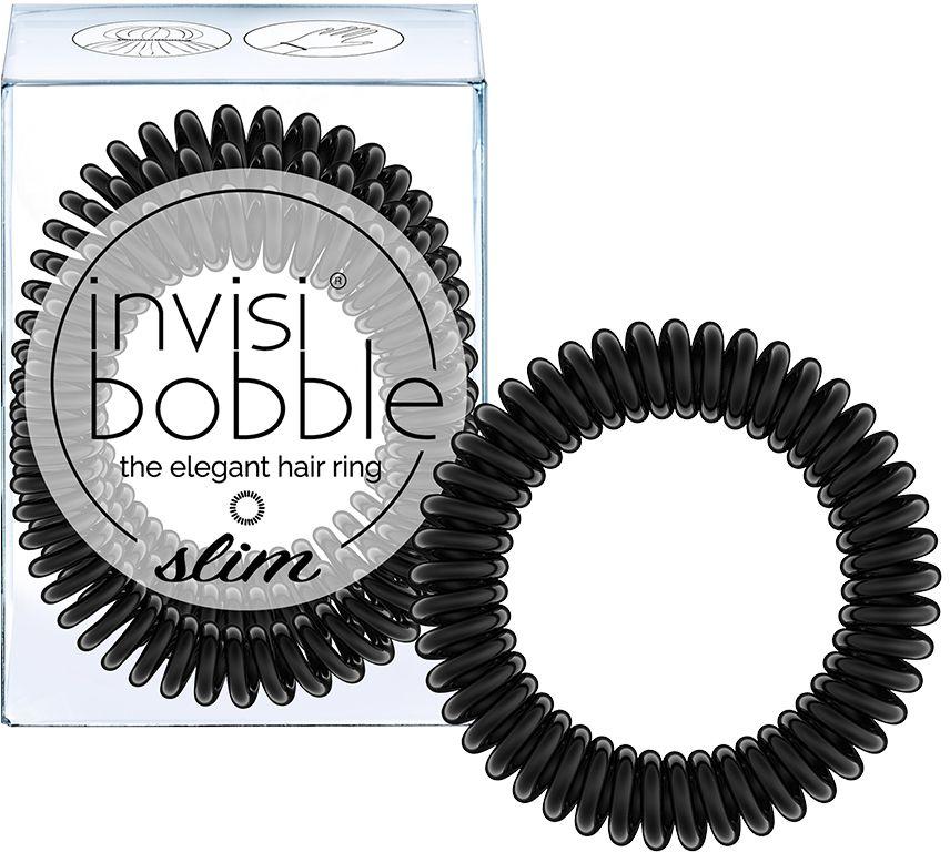 Invisibobble Резинка-браслет для волос Slim True Black, 3 шт3094Резинки invisibobble SLIM в оттенке True Black (черный) станут незаменимым аксессуаром для каждой девушки! Резинки-браслеты invisibobble SLIM имеют увеличенное количество завитков, чем invisibobble ORIGINAL, а также уменьшенные в размере витки. Резинки invisibobble подходят для всех типов волос, надежно фиксируют причёску, не оставляют заломы и не вызывают головную боль благодаря неравномерному распределению давления на волосы. Кроме того, резинки-браслеты invisibobble не намокают и не вызывают аллергию при контакте с кожей, поскольку изготовлены из искусственной смолы.Вы можете легко и быстро создать стильную причёску, используя резиночку invisibobble. Если надеть резинку invisibobble SLIM как браслет, резиночка всегда будет с вами и не потеряется!