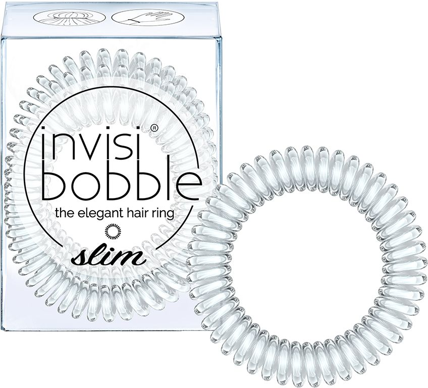 Invisibobble Резинка-браслет для волос Slim Crystal Clear, 3 шт