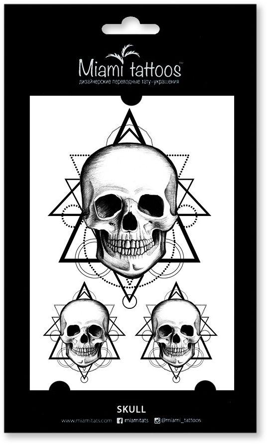 Miami Tattoos Переводные тату Skull, 1 лист, 10 см х 15 см