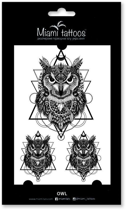 Miami Tattoos Переводные тату Owl, 1 лист, 10 см х 15 см тату рукава в владимире