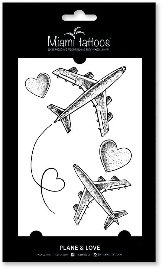 Miami Tattoos Переводные тату Plane & Love, 1 лист, 10 см х 15 см flash tattoos sheebani authentic metallic temporary tattoos